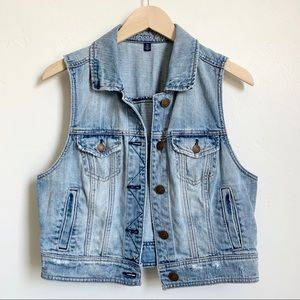 AE distressed/faded cropped denim vest - Large